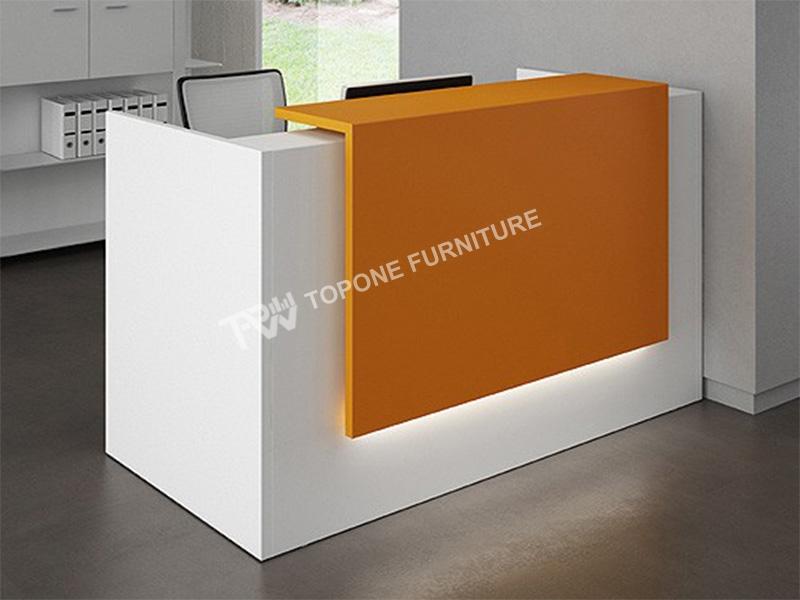 Small Orange And White Reception Desk Tprd024